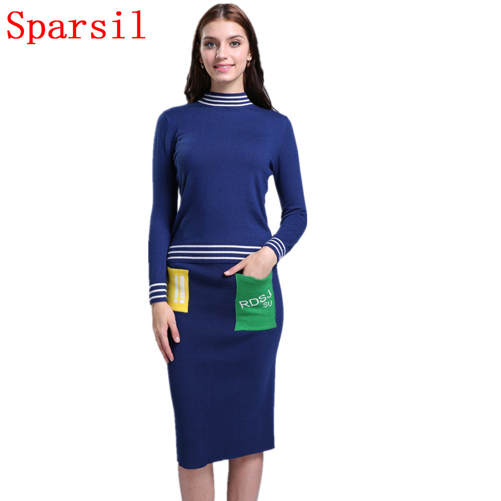 Sparsil Women Autumn O-Neck Cashmere Blend Knitted Pullover Sweater +Slim Skirt/Set Winter Striped Style Knitwear Sweaters