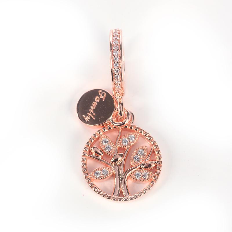 Rose Gold Dangle Bead 925 Sterling Silver Family Tree Pendant Charm Fit Original Pandora Bracelet Diy Jewelry Making