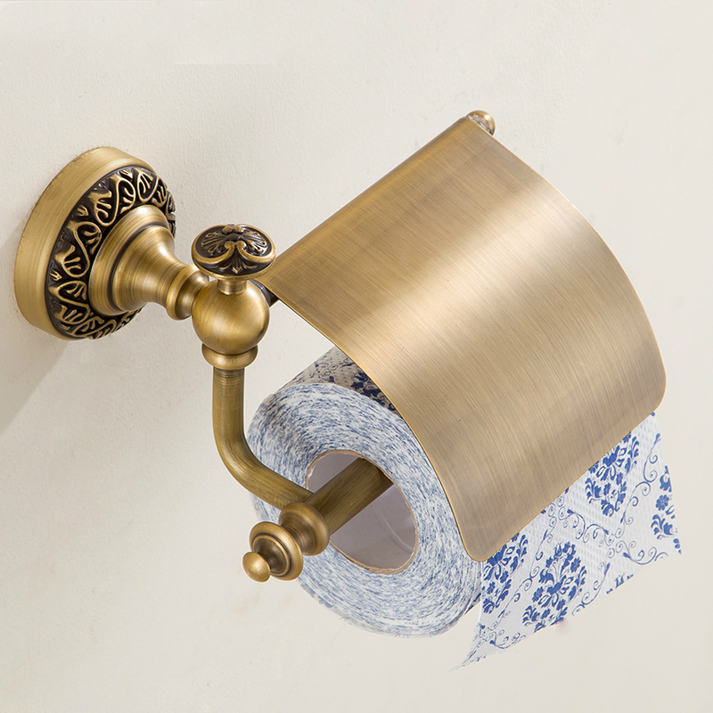 European Copper Bronze Tissue Box Roll Holder Antique Brushed Toilet Paper Holder Bathroom Hardware sets Bathroom Products jh4 black of toilet paper all copper toilet tissue box antique toilet paper basket american top hand cartons