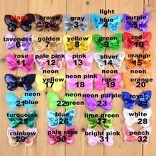 100 шт./лот 32 цвета U Pick 2,36 дюйма мини бабочка аппликация с блестками банты аксессуары для волос оптом поставка бантов BOW05