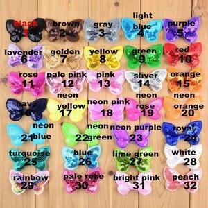 Image 1 - 100 sztuk/partia 32 kolor U Pick 2.36 Cal Mini aplikacja z motylem olśniewająca łuki akcesoria do włosów hurt Hairbow dostaw BOW05