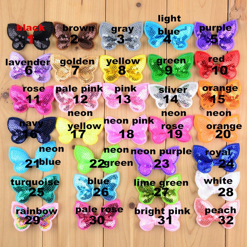 100pcs/lot 32 Color U Pick 2.36 Inch Mini Butterfly Applique Sequin Bows Hair Accessories Wholesale Hairbow Supply BOW05 u pick u 100