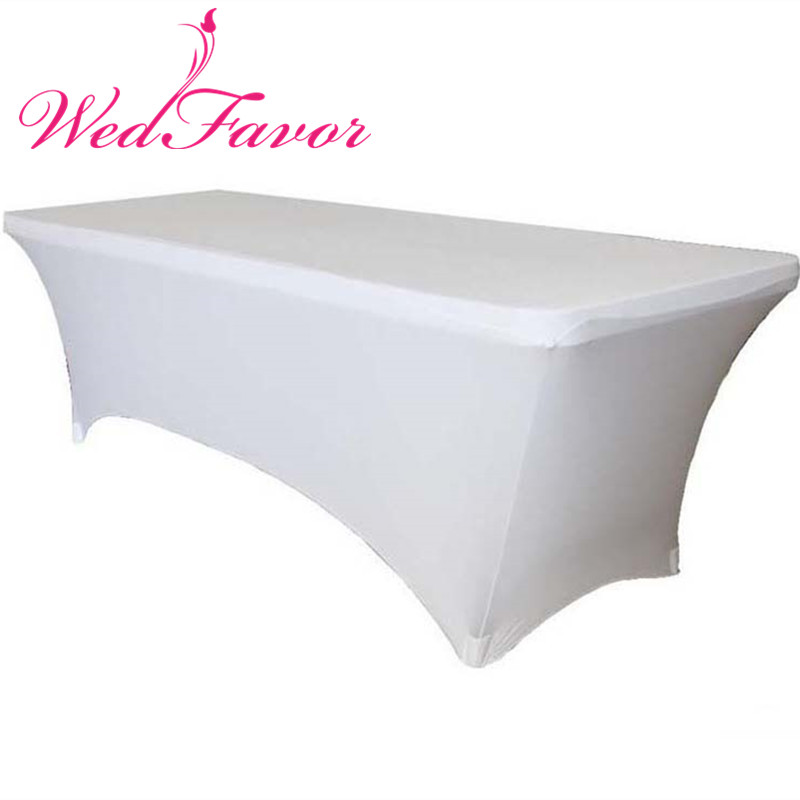 WedFavor 10pcs 5ft 6ft 8ft Rectangular Stretch Spandex Table Covers Wedding Lycra Table Cloths For Party