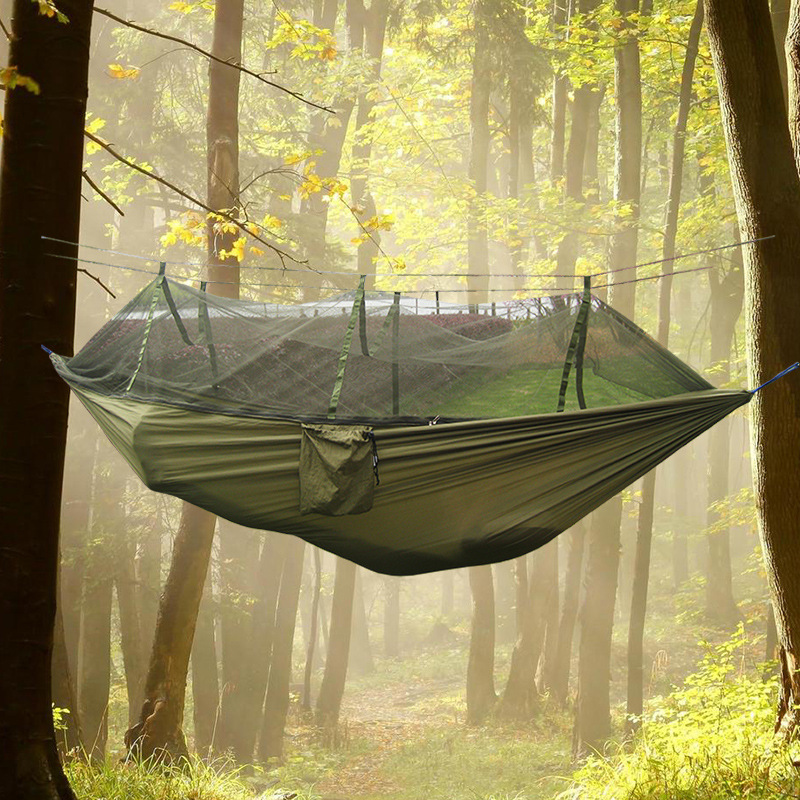 все цены на 2016 NEW Solid Portable Outdoor Parachute Cloth Double Hammock Air Tent with Mosquito Net 260*140cm в интернете