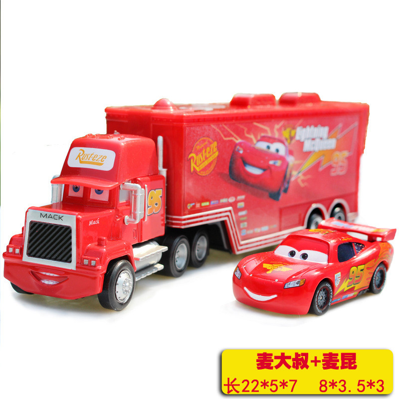 2pcs Cars Set Diecast No.95 Mack Racer's Truck lightings Metal Toy Car For Children 1:50 Loose Brand New In Stock McQueen