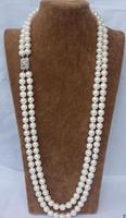 Beautiful CHARMING NATURAL 2 ROW 9 10MM WHITE AAA++ AKOYA SOUTH SEA PEARL NECKLACE 24 35