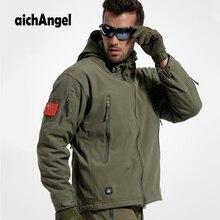 AichAngeI الجيش التمويه رجل معطف سترة عسكرية مقاوم للماء سترة واقية التكتيكية سوفتشيل هوديي سترة الشتاء أبلى