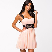 Moodeosa 1PC Women Pink Floral Lace Backless Prom Dress Formal Wedding Evening Mini Dress