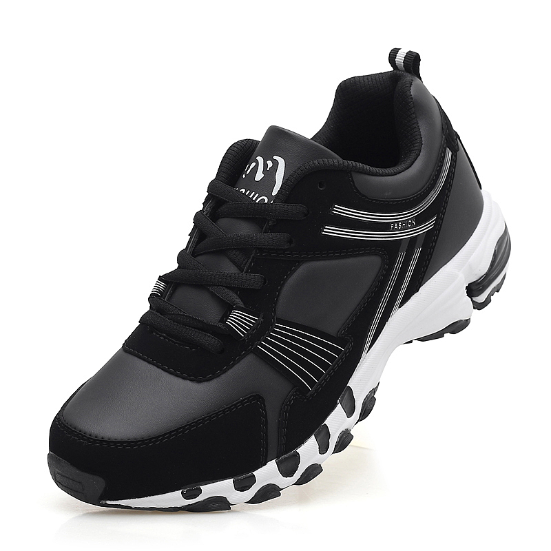 ФОТО 2016 Sport Shoes Mens Running Leather Athletic Footwear Plus Big Size Shoes Men Athletic Sport Shoes Black/Red Sports Sneakers