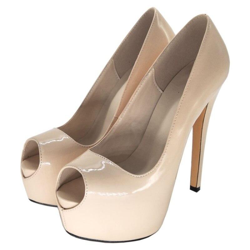 Cm Taille De Chaussures 45 Shoofoo Beige Peep 14 34 Talons Gratuite 5 Femmes Hauts Élégante Livraison Pompes Chaussures Toe Mode BOB6q0a