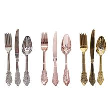 18PCS Disposable Imitation Metal Plastic Gold Silver Carved Embossed Cutlery Western Wedding Party Tableware Set Dropshiping