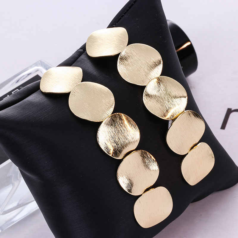 New Punk Heavy Metal Dangle Indian Gold Silver Drop Earring ZA Geometric Statement Earrings For Women African Dubai Jewelry 2018