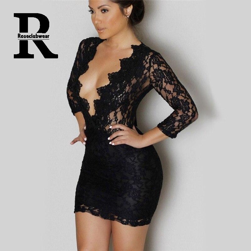 ae1e59040fef9 Long Sleeve V-neck Black Lace Mini Dress vestidos femininos Women Sexy  Bodycon Dress Club Wear