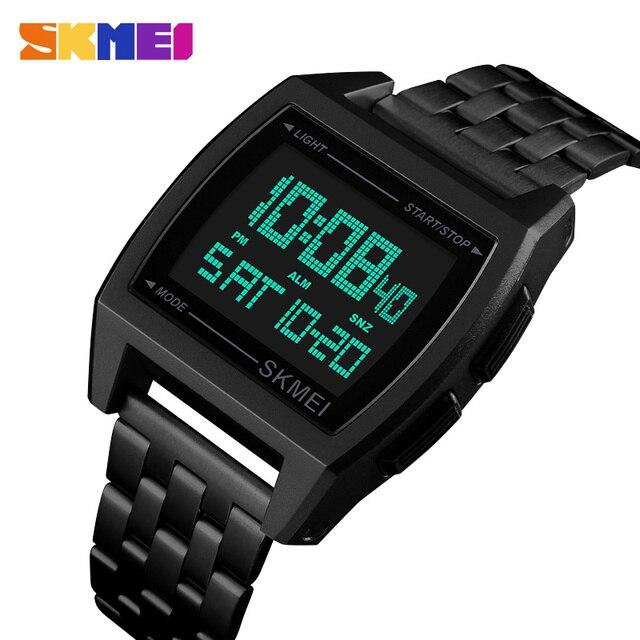 0e29efff68c7 Relojes SKMEI hombres reloj de pulsera de acero inoxidable impermeable  Digital LED reloj deportivo hombre Erkek