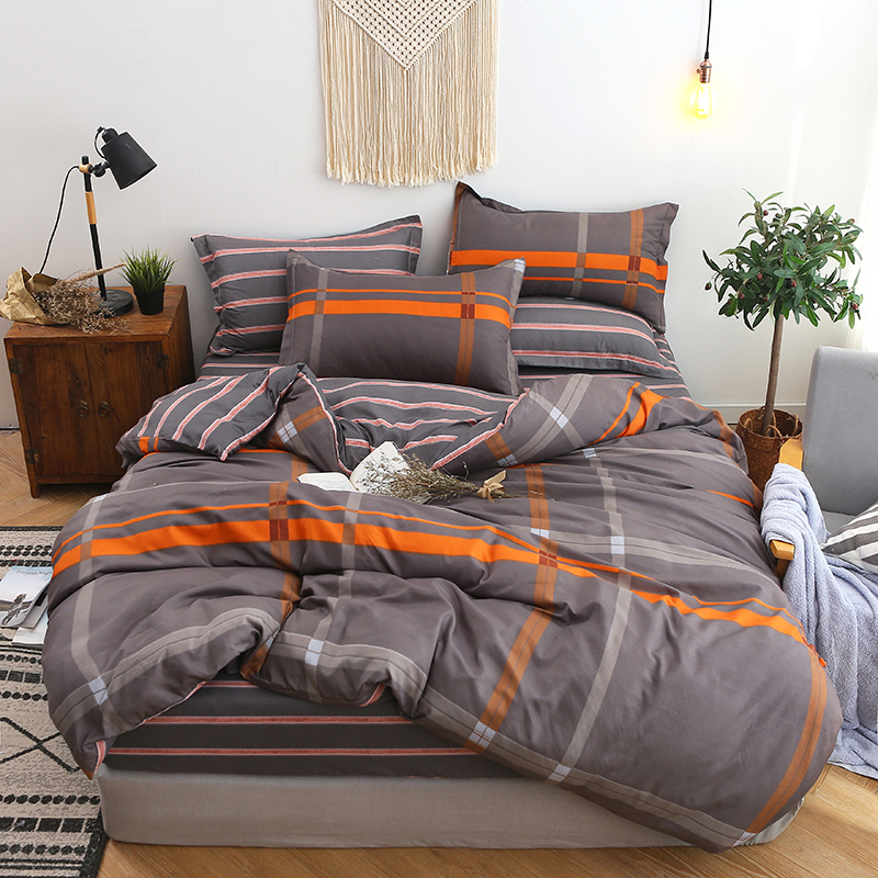 BEST.WENSD 2019 Simple plaid-Coffee stripe 3/4pc bedding set king comforter set duvet set Fitted Sheet bedspread Children adults