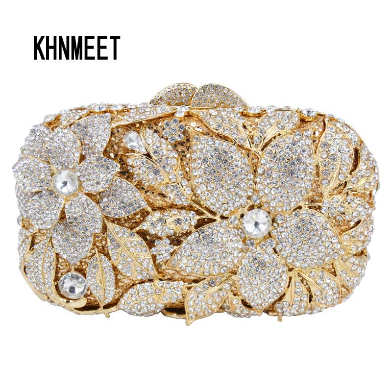 Luxury Crystal Diamond Evening Clutch Bag Silver Gold Champagne Flower Evening Bag Party Wedding Purse soiree