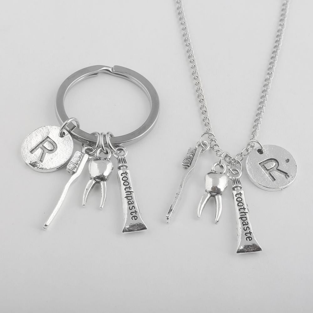 Hot Fashion Dental Dentist Toothpaste toothbrush teeth Antique Silver Charm Chain Pendant Necklace keyring women men Jewelry