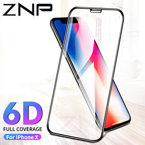 ZNP 6D Tempered Glass for iPhone 6 Screen Protector 7 8 Plus 6 s X Phone Protective