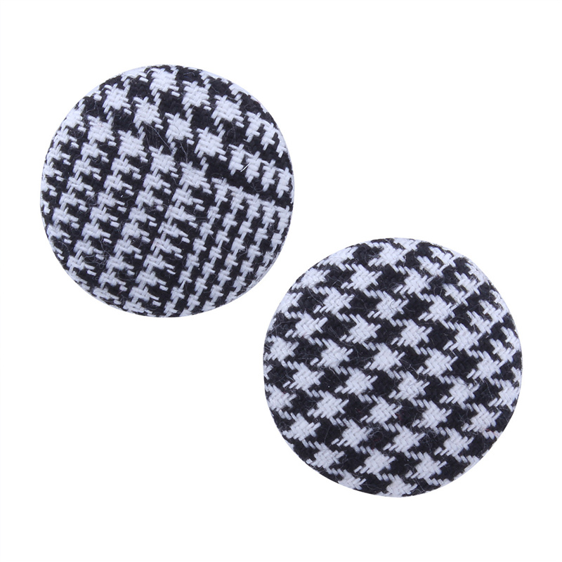 Black White Color Circle Button Drop Flannel Earrings For Women Fashion Jewelry Mujer Ethnic Hanging Halloween Gifts irregular