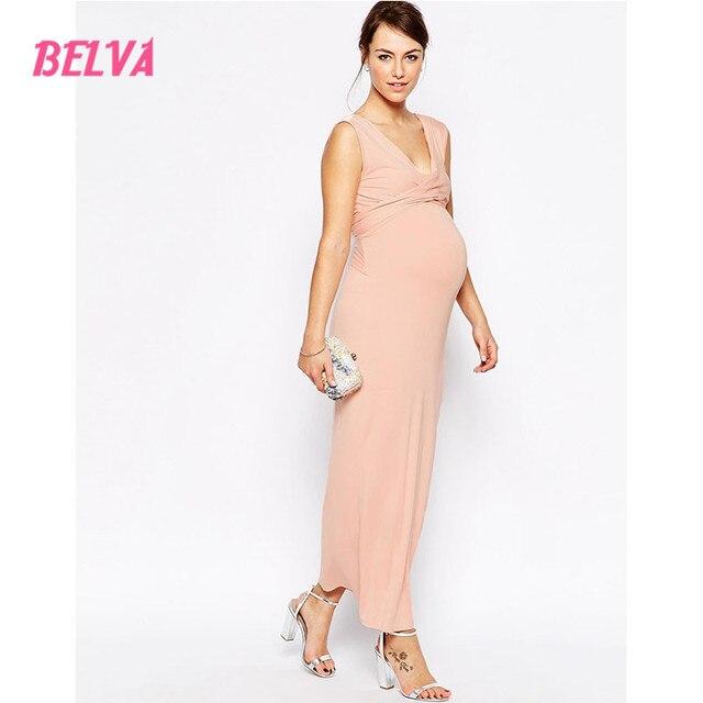 Roze Maxi Jurk.Belva Roze Groen Moederschap Maxi Dress Voor Zwangere V Hals