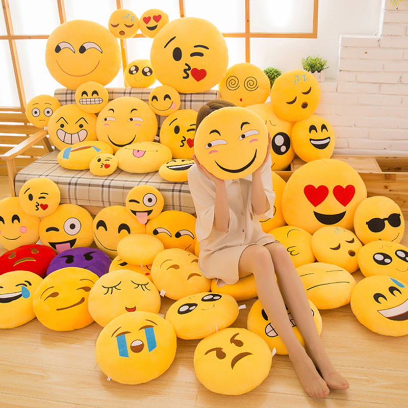 30 CM Soft Emoji Yellow Round Cushion Emoticon Stuffed Plush Toy Smiley Pillow Activity Small Gift Funny Hold Pillow #253935 3