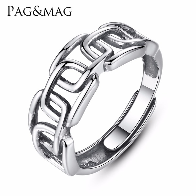 PAG&MAG Brand Authentic Sterling Silver Men&Women's Double Rings Also Buckle Vin
