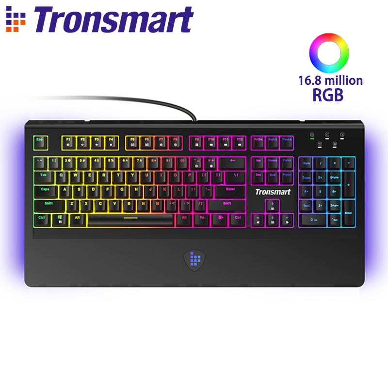 English Tronsmart TK09R Mechanical Keyboard Gaming Keyboard 104 Keys with RGB Backlit Macro Blue Switches