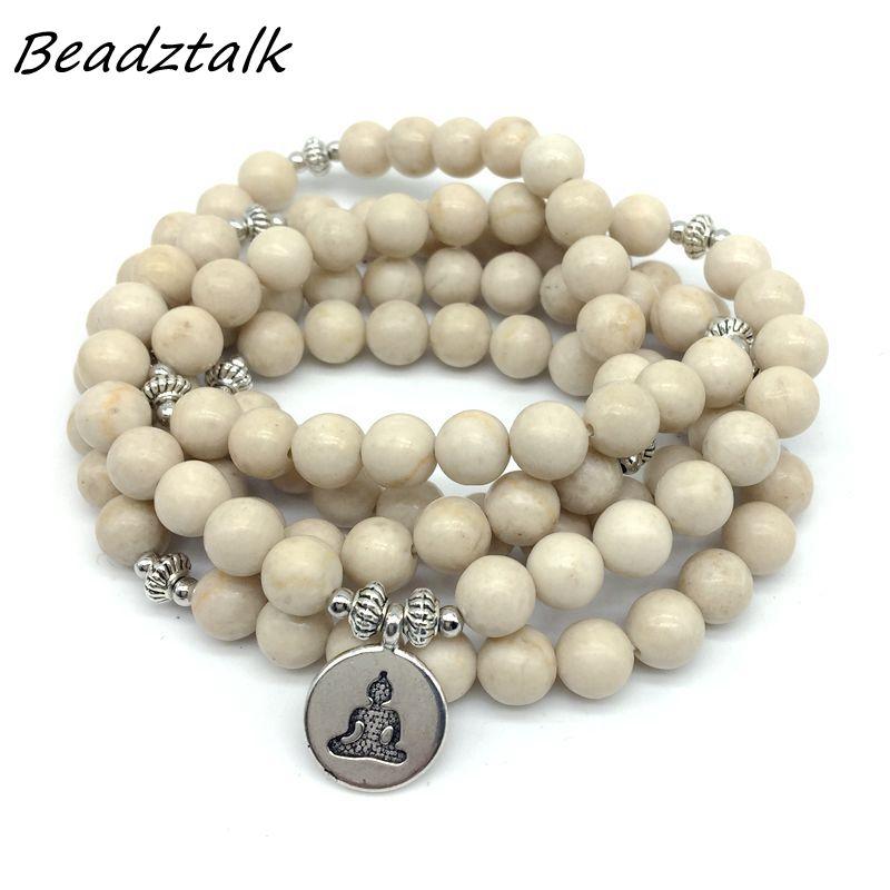 Fashion Women`s bracelet Petrified Wood Stone With Lotus Ohm Charm Yoga Bracelet 108 mala necklace dropshipping