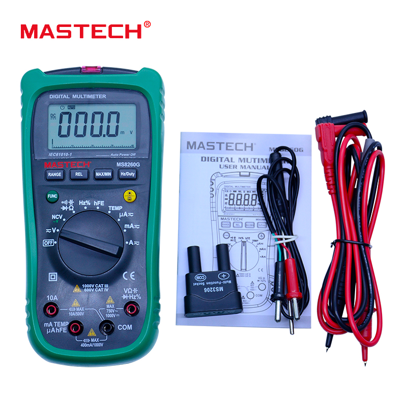 MASTECH MS8260G Auto Range Digital Multimeter ohm voltage and current Capacitance Frequency Temperature Meter with NCV mastech my63 digital multimeter dmm w capacitance frequency