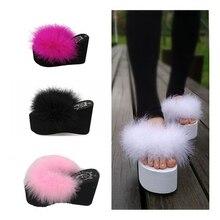 slippers platform wedge slippers fur sliders furry slides womens slides shoes slip on sandals black shoes for women light loafer