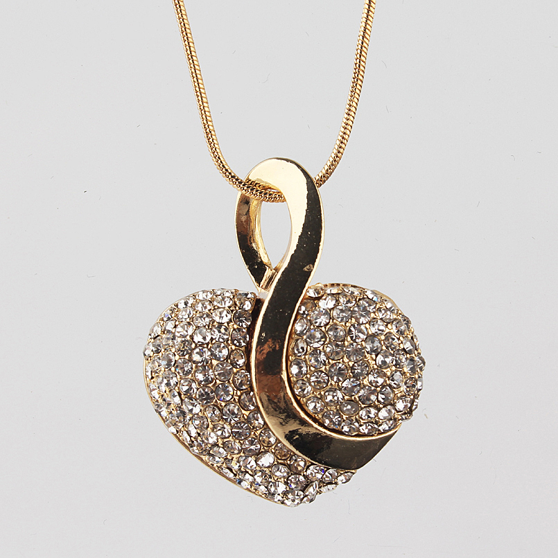Free shipping Fashion Jewelry Luxury Gold color Romantic Austrian Crystal heart shape Chain Necklace Earrings Jewelry