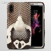 LANGSIDI Brand Phone Case Real Snake Head Back Cover Phone Shell For IPhone 8 Full Manual