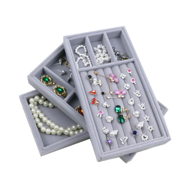 Velvet Suede Ring Earrings Organizer Ear Stud Jewelry Display Stand Holder Rack Showcase Plate Jewelry Box Casket For Decoration