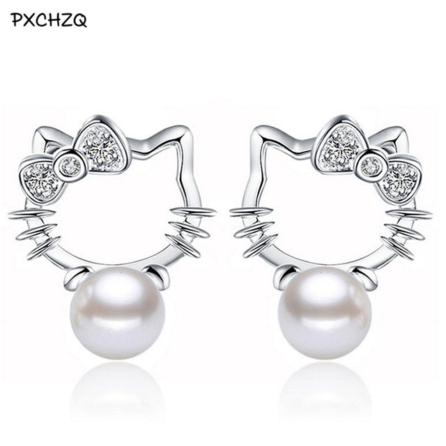 Silver Colour Shambhala Super Flash crystal stone imitation pearl earrings fashion Hello Kitty jewelry 8MM