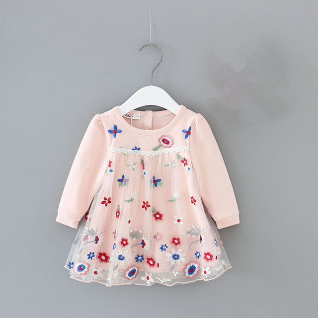 Girls Dresses Lantern Sleeve Flowers Embroidery Ball Gown for Kids Clothes Wedding Party Tutu Dress Christmas Children Clothes