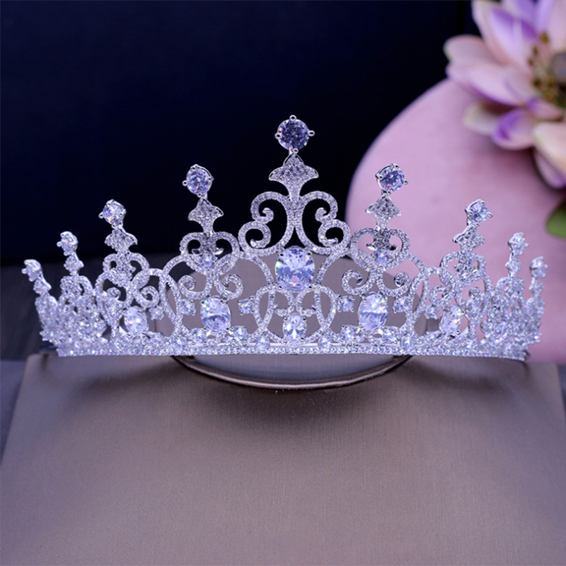 New AAA CZ Bridal Wedding Tiara Crown Hair Accessories Jewelry Birthday Party Crown Headpiece HG1189