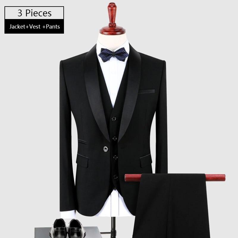 Wünschenswert Zeit Männer Smoking Anzug Schwarz S-4XL Schal Kragen 3 stück Kleid Anzug Slim Fit Bräutigam Hochzeit Anzüge für Männer DT226