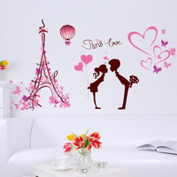 Cartoon Wall Stickers Love Paris Eiffel Tower Bedroom Living Room Background Decoration Wall Stickers