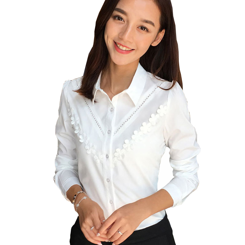 BIG Size L-4XL Lady White Blouses 2020 Flower Patchwork Design New Korean Chiffon Clothing Elegant Women Fashion Shirts