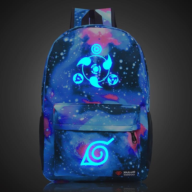 Anime Naruto Write Round Eye Print Luminous Backpack High School Students Shoulder Bags Cartoon Middle School Travel Backpacks