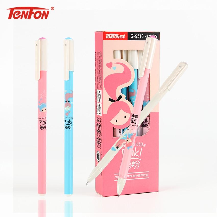 TENFON Fresh Pink Princess Gel Pen Cute Ink Black Signing Pen Stationery Office School Supplies 0.38mm G-9513
