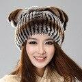 h931- мода осень и зима тепловой натурального меха кролика rex с кисточкой крышка женщин полосой шляпу меха роскоши,женские шляпы