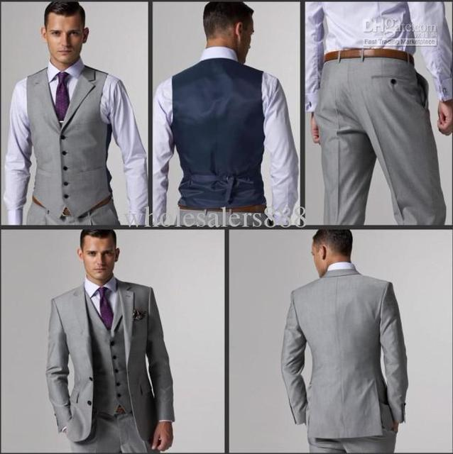 Hot Sale Light Grey Groom Tuxedos Notch Lapel Groomsmen Men Wedding Suits(Jacket+Pants+Vest)