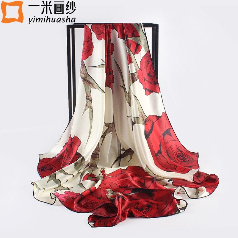 Элегантный большой площади Шелковый шарф для женщин на осень-зиму бренд печатных платки и хиджабы Мода 100% чистый шелк бандана 110*110 см