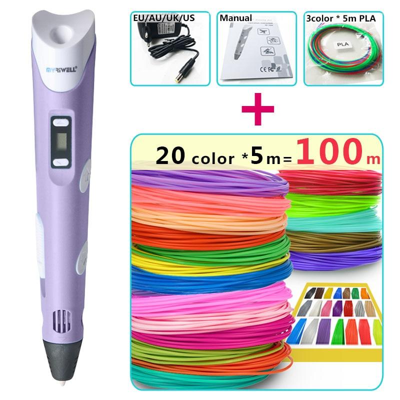myriwell 3d pen + 20 Colour * 5m ABS filament(100m),3 d pen 3d model Smart perfect 3d printing pen Best Gift for Kids pen-3d магнитола bbk bs15bt белый голубой