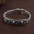 GZ 925 Silver Bracelet Skeleton Vintage width 11mm 21cm Big Chain Skull S925 Thai Silver Bracelets for Men Jewelry