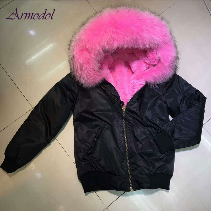 superior materials info for factory US $430.0 |2017 Winter Black Bomber Jacket women Pink Faux fur Linner  Waterproof Jacket Short Wind Coat-in Faux Fur from Women's Clothing on ...