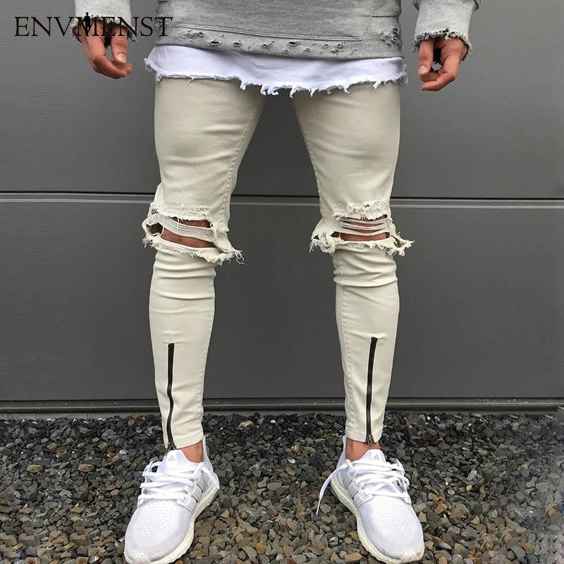 Envmenst 2017 Newest Fashion Tie-Dye Hole Destroyed Men's Slim White Denim Straight Biker Skinny Jeans Men Ripped Jeans