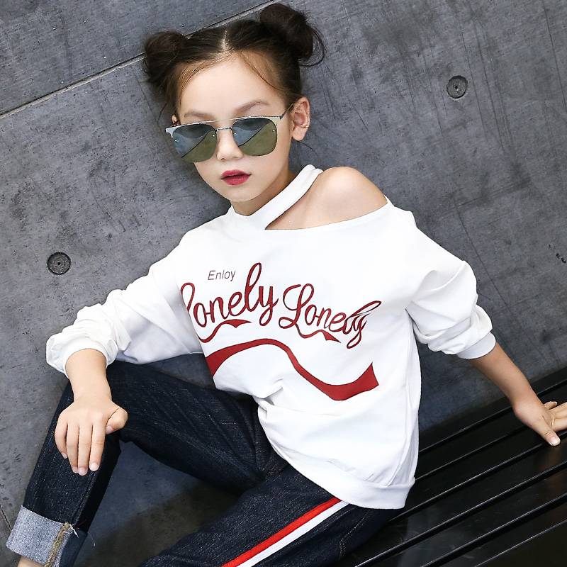 Kids Off Shoulder T-Shirts For Girls Cotton Long Sleeve Tees Casual Autumn School Costumes 2018 Teenage Tops 5 7 9 11 13 Years