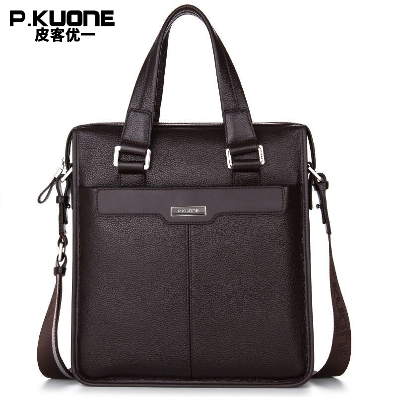 P. KUONE 2017 Genuine Leather Men's Business  Briefcase Vertical Casual Shoulder Messenger Bag Male Lapot Handbag